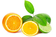 Slices of fresh orange with lime and leaf on white background Royalty Free Stock Images