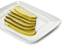 Slices of fresh pickles Stock Image
