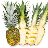 Slices of fresh pineapple, isolated on white background Stock Photo