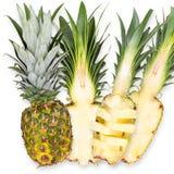 Slices of fresh pineapple, isolated on white background Stock Photo