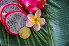 Slices of Fresh Raw Exotic Tropical Thai Dragon Fruit also called Pitayas with Digital Cryptocurrency Bitcoin on Banana Stock Photo