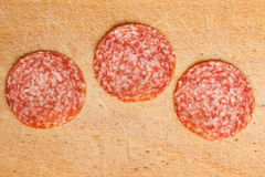 Slices of fresh salami Royalty Free Stock Image