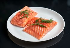 Slices of fresh salmon fillet on a white plate on a dark background with sprigs of dill royalty free stock images