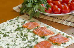 Slices of fresh salmon on a piece of pita Royalty Free Stock Photos