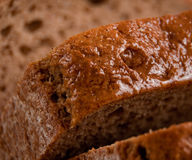Slices of freshly baked banana bread. A close-up of slices of freshly baked banana bread Royalty Free Stock Image