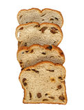 Slices of freshly baked bread with raisins Royalty Free Stock Images