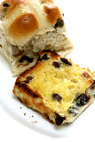 Slices of freshly toasted hot cross buns Royalty Free Stock Photography