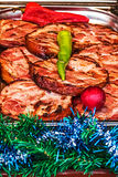 Slices of fried ham, ready to be served at Christmas time Royalty Free Stock Photos