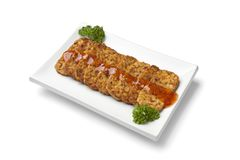 Slices fried tempeh Stock Image
