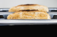 slices of fried toast sticking out of toaster Royalty Free Stock Photography