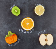 Slices of fruit on dark grungy surface. Slices of fruit on grungy dark background. Kiwi, lemon, orange, persimmon, apple. Top view Stock Image