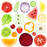 Slices of fruit and vegetable Stock Image