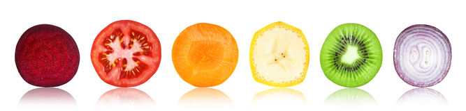 Slices of fruit and vegetable Royalty Free Stock Photos