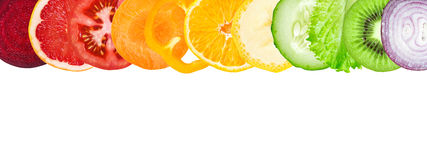 Slices of fruit and vegetable Royalty Free Stock Images