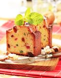 Slices of fruitcake Stock Images