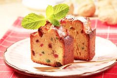 Slices of fruitcake Stock Photography