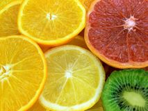 Slices of fruits. Juicy fruits. Orange, grapefruit, lemon and kiwi fruit Stock Photography
