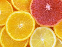 Slices of fruits. Juicy fruits. Lemon, orange and grapefruit Royalty Free Stock Image
