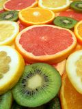 Slices of fruits. Set of different fruits. Kiwi fruit, grapefruit, orange, lemon Royalty Free Stock Images
