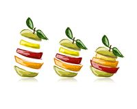 Slices of fruits, apple shape. Sketch for your Stock Image