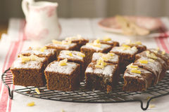 Slices of a ginger parkin on a lattice for cooling. Royalty Free Stock Images