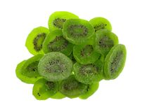Slices of glazed kiwi fruit on a white background Royalty Free Stock Photos