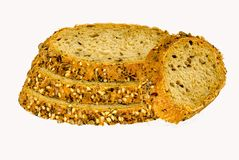 Slices of grain bread free cut at white backround Royalty Free Stock Photos