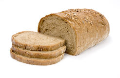 Slices of granary bread. On white background Royalty Free Stock Image