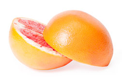 Slices of grapefruit. On white background Royalty Free Stock Photography