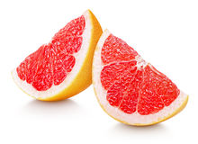 Slices of grapefruit citrus fruit isolated on white Stock Photo