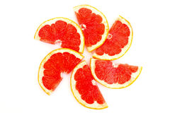 Slices of grapefruit in the form of circle Stock Images