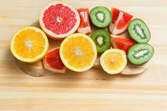 Slices of grapefruit, lemon, kiwi, orange Royalty Free Stock Images