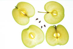 Slices of green apple with kernels Royalty Free Stock Photography