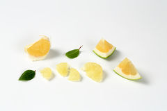 Slices of green grapefruit Stock Images