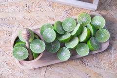 Slices of green lime fruit Stock Photo
