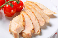 Slices of grilled chicken breast Royalty Free Stock Photos