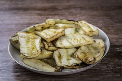 Slices of grilled zucchini on a plate Royalty Free Stock Images