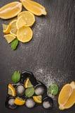 Slices and half fresh juicy lemon Royalty Free Stock Photos