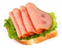 Slices of ham. On white background Royalty Free Stock Images