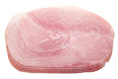 Slices of ham isolated. On a white background Stock Photo