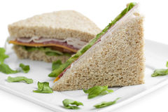 Slices of ham sandwich Stock Photo