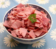 Slices of ham. Some slices of smoked ham in a bowl Stock Photography