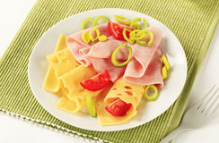 Slices of ham and Swiss cheese Royalty Free Stock Photos