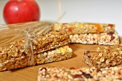 Slices of healthy cereal bars. stock photo