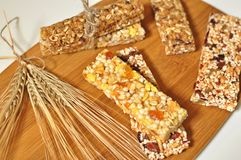 Slices of healthy cereal bars. royalty free stock photos