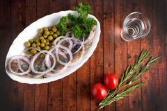 Slices herring with peas Stock Image