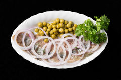 Slices Herring With Peas Royalty Free Stock Photography
