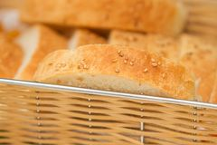Slices of home made bread in the Royalty Free Stock Photography