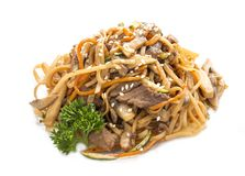 Slices of homemade chicken with egg noodles and carrots in oyster sauce. Asian Lunch stock photo