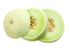 Slices of Honeydew Melon. On White Background Royalty Free Stock Image